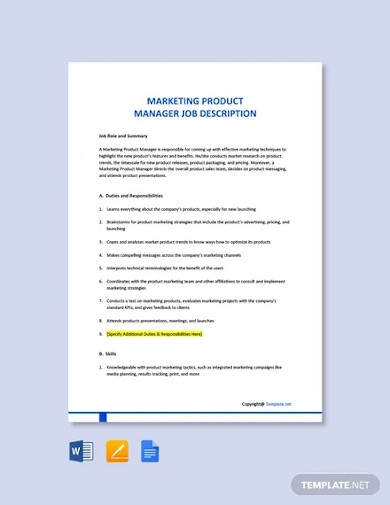 free marketing product manager job description template