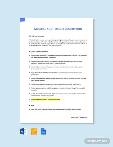 free medical auditor job description template