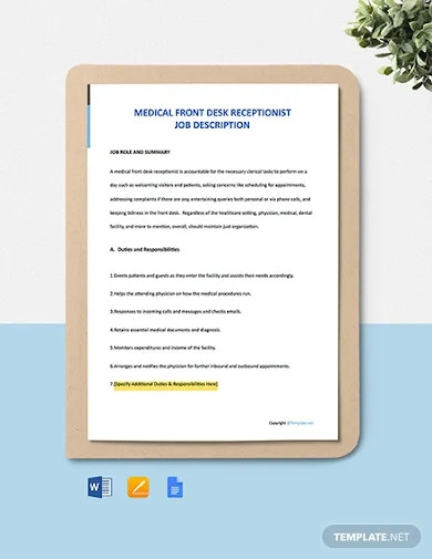 free medical front desk receptionist job description template