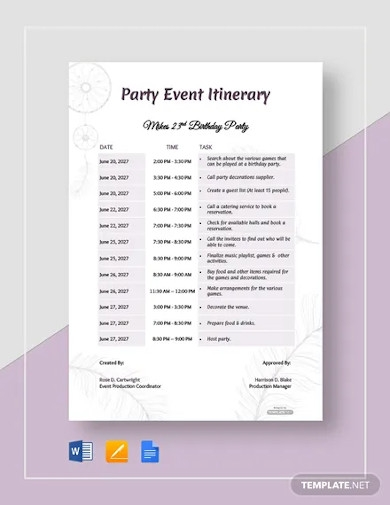free party event itinerary template