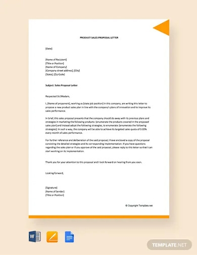 free product sales proposal letter