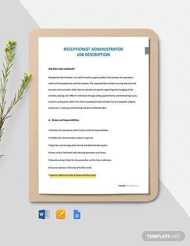 free receptionist administrator job description template