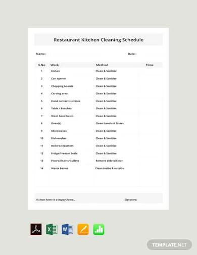 free restaurant kitchen cleaning schedule template