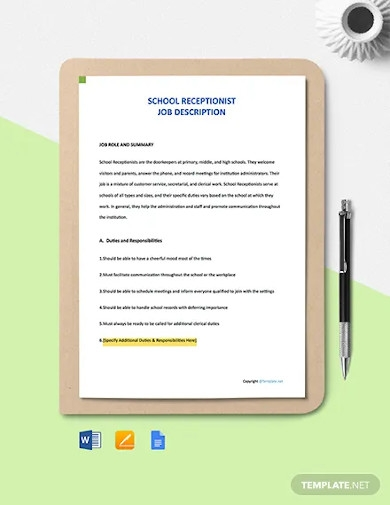 free school receptionist job description template