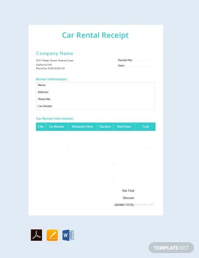 free simple car rental receipt template
