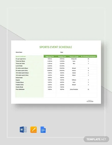 free sports event schedule template