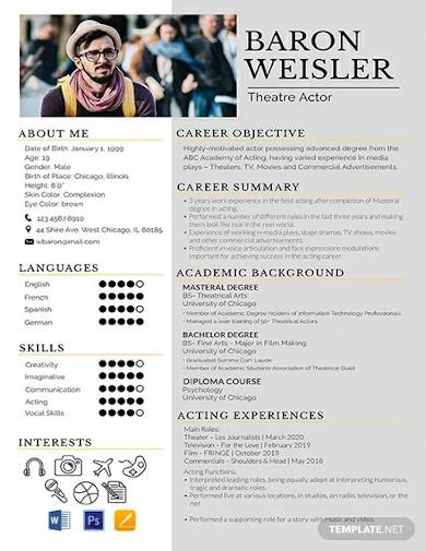 free theatre resume template
