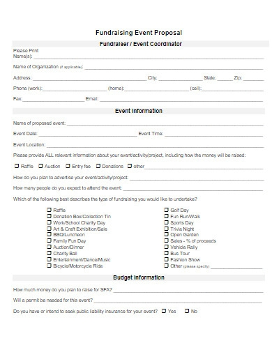 fundraising event proposal form