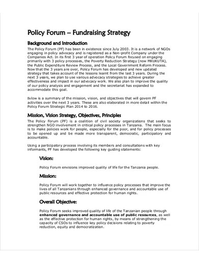 fundraising strategy template
