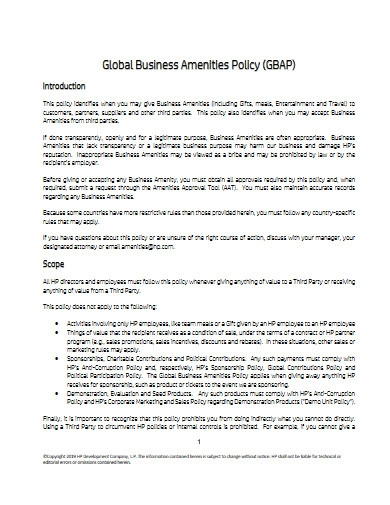 global business amenities policy