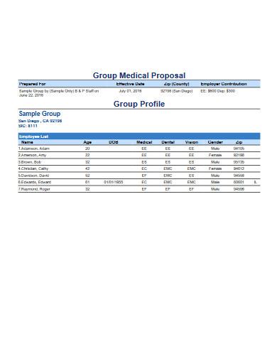 group medical proposal