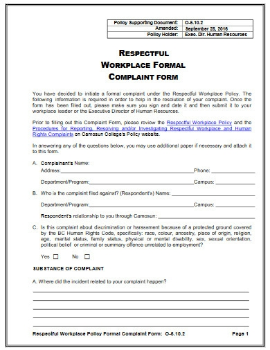 hr workplace formal complaint form