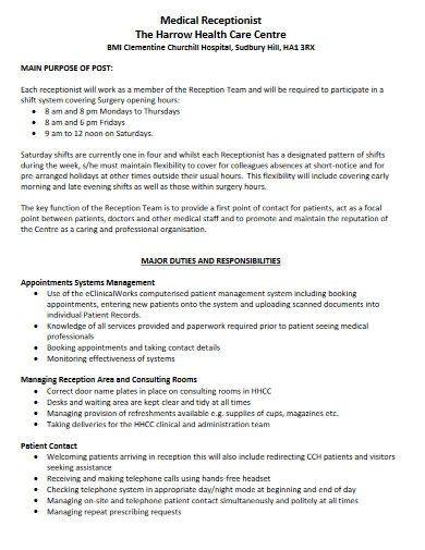 health care centre receptionist job description