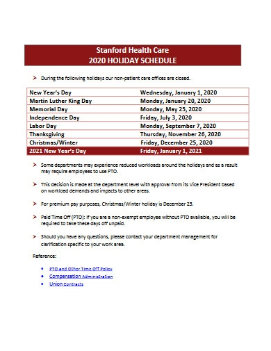health care holiday schedule