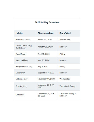 holiday schedule example