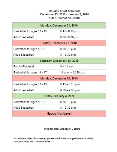 holiday sport schedule