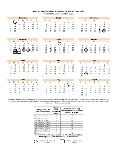 holiday and vacation schedule for fiscal year
