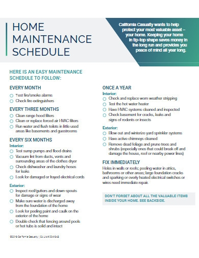 home maintenance schedule example
