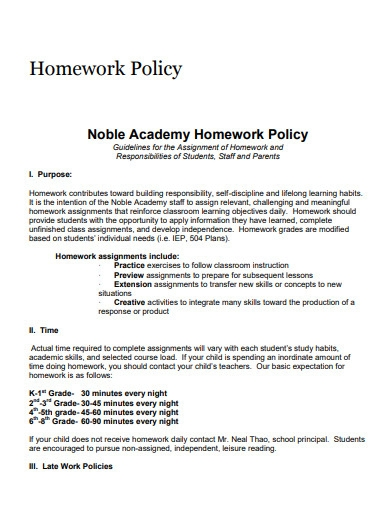 homework policy template