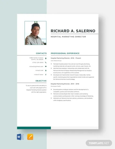 hospital marketing director resume template
