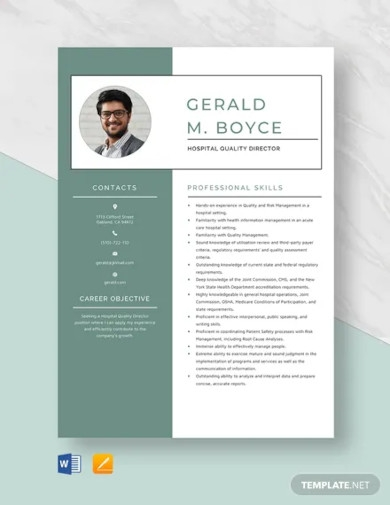 hospital quality director resume template