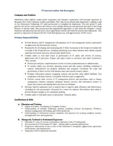it internal auditor job description