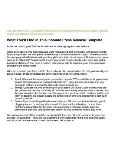 inbound press release template