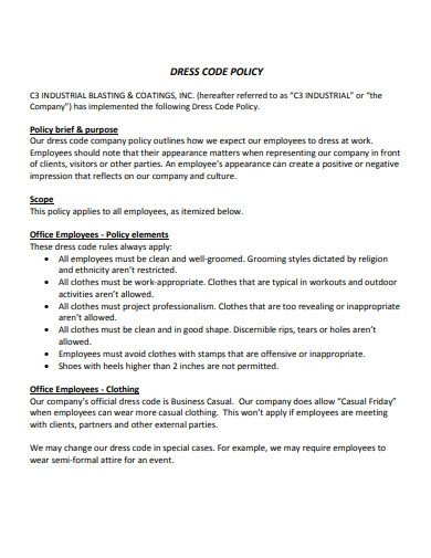 industrial dress code policy