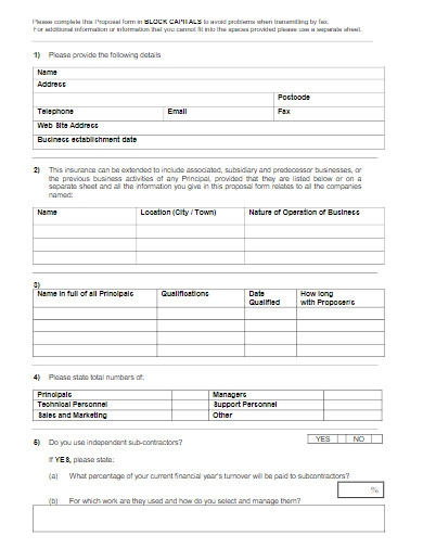 information technology proposal form