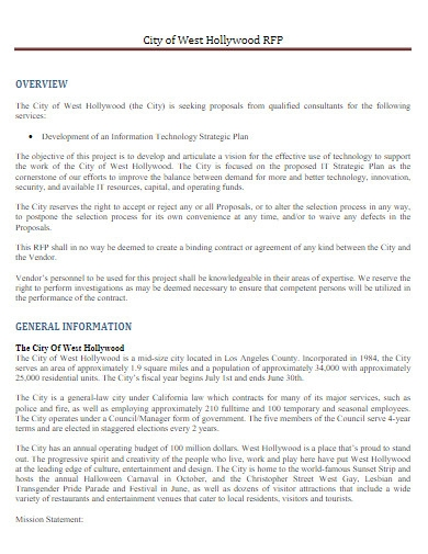 information technology strategic plan proposal
