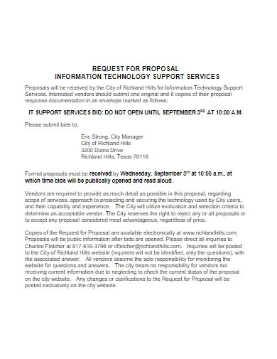 information technology support services proposal