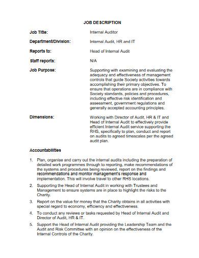 internal auditor job description
