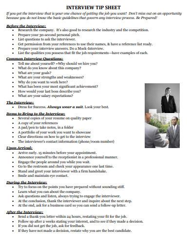 interview tip sheet