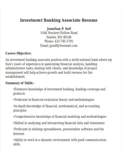investment banking associate resume