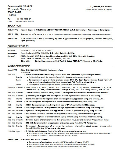 java developer resume example