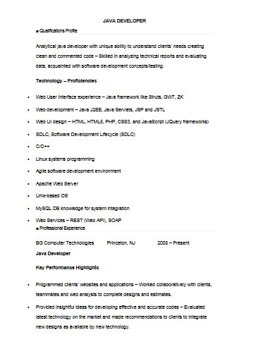 java developer resume template