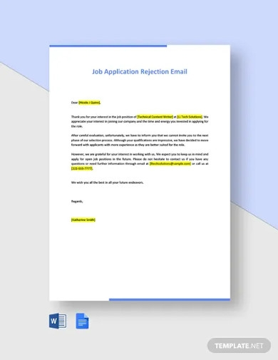 job application rejection email template