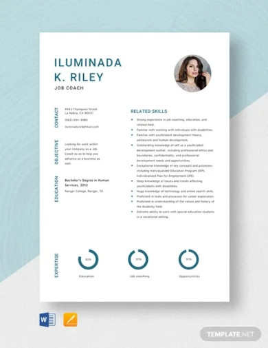 job coach resume template