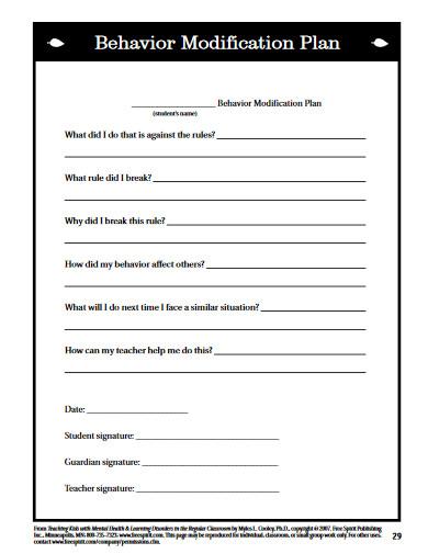 kids behavior modification plan