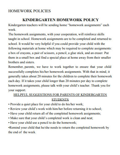 kindergarten homework policy