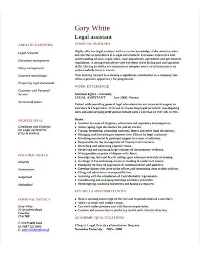 law assistant cv template