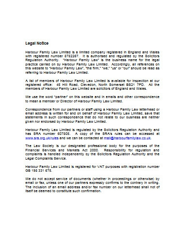 legal notice example