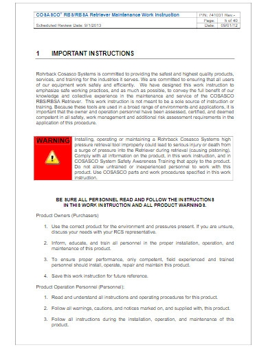 maintenace work instruction