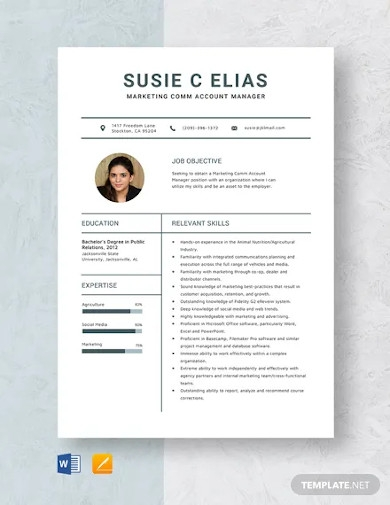 marketing comm account manager resume template
