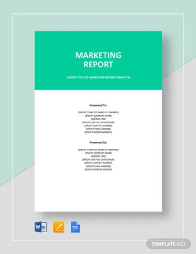 marketing report template