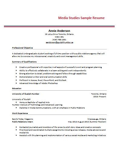 media studies sample resume