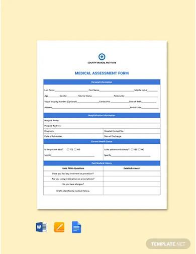 medical assessment form template
