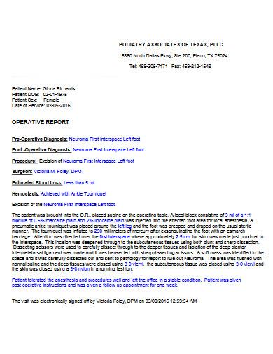 medical operative report