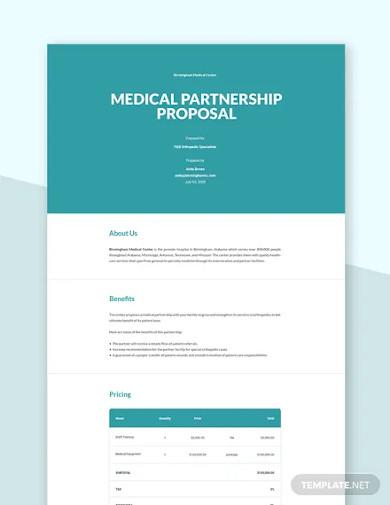 medical partnership proposal template