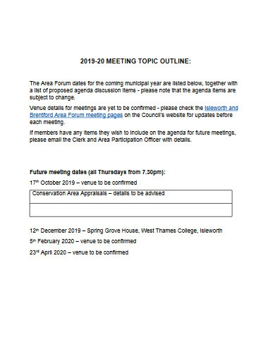 meeting topic outline
